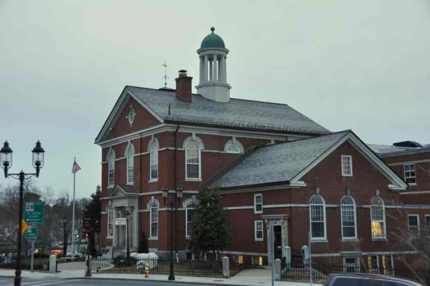 In this view of the Memorial Hall Library in Andover, MA, you can almost get a sense for  how steep the hill behind it is, if you look carefully at the righthand side of the building.
