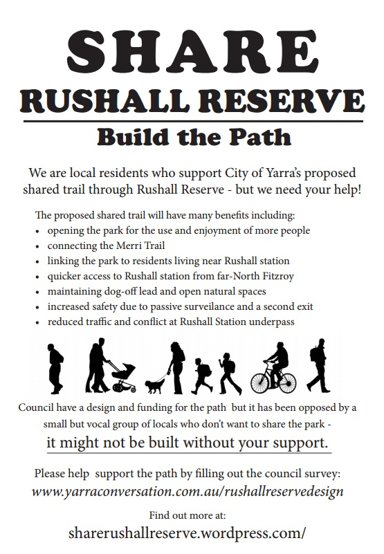 Share Rushall Reserve – Build the Path is a community campaign supporting City of Yarra's proposed shared trail through Rushall Reserve.