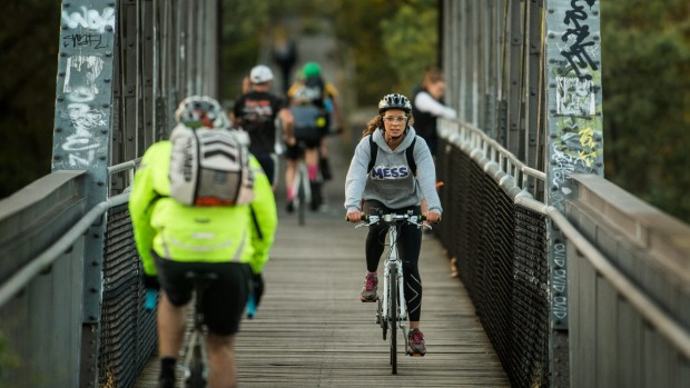Cyclists on the bridge at Walmer Street. Photo: Simon Schluter