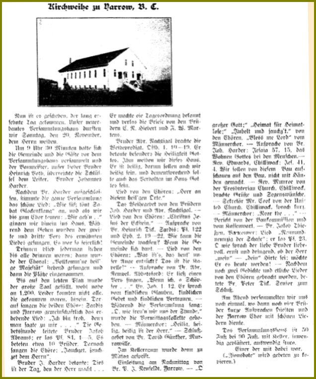 Yarrow Pioneers and Settlers: Mennonite Brethren Church