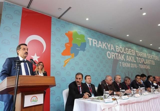 Gıda, Tarım ve Hayvancılık Bakanı Faruk Çelik, Tekirdağ'da düzenlenen Trakya Bölgesi Tarım Sektörü Ortak Akıl Toplantısına katıldı. Bakan Çelik, toplantıda bir konuşma yaptı. ( Emrah Gökmen - Anadolu Ajansı )