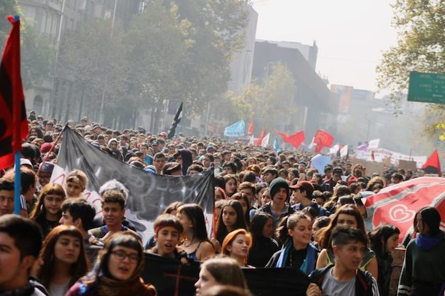 şili öğrenci protestosu