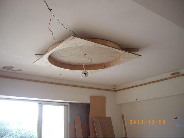 木工裝潢-圓形天花板先用木心板作出圓形