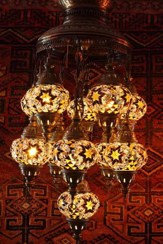Turkish Amber Eleven Lamp Mosaic Chandelier