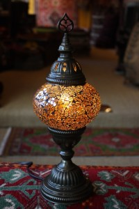 Turkish Amber Mosaic Table Lamp from Turkey with electrics