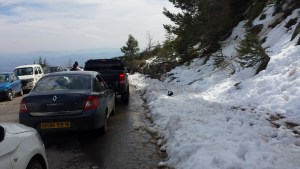 Snow shuffling Tikjda Algeria