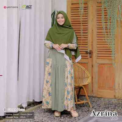 gamis yasmeera azrina dress green haze