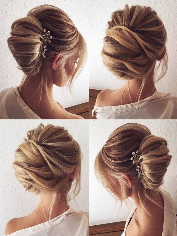 Elegant hairstyle for women with a beautiful hairpin
