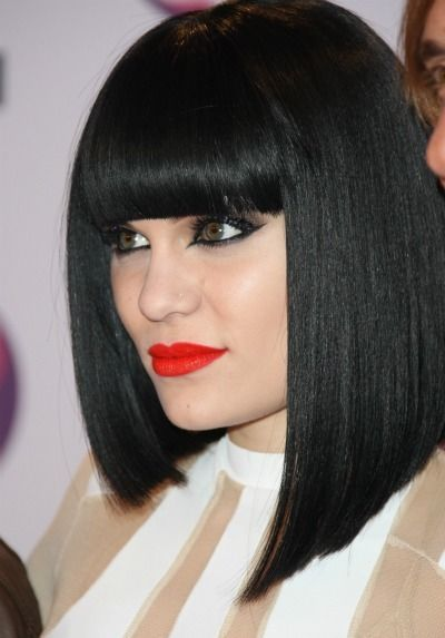 thick straight bangs with fashionable square