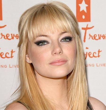 gentle light straight bangs with long hair