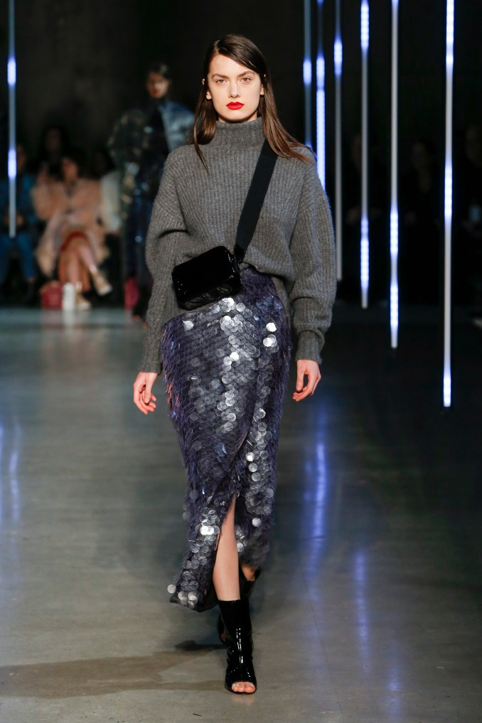 Sally LaPointe 2019 oversized gray sweater with sequin skirt