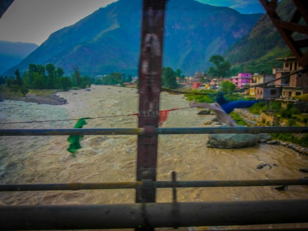 crossing the bridge on Beas river