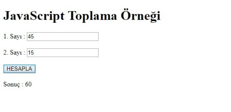 JavaScript Toplama
