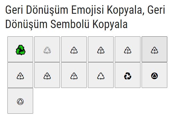 geri dönüşüm sembolleri, geri dönüşüm işareti, geri dönüşüm emojisi