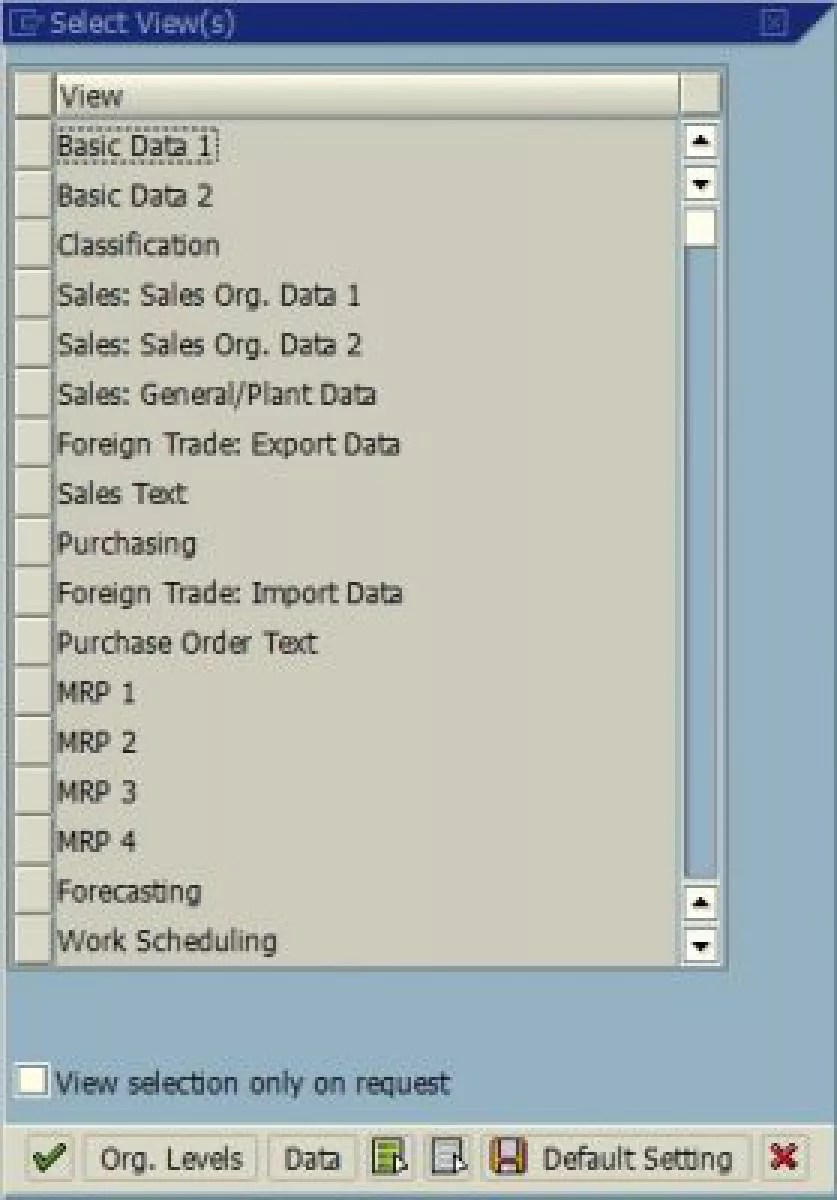 hight resolution of sap find out which views are open for a material article list of material