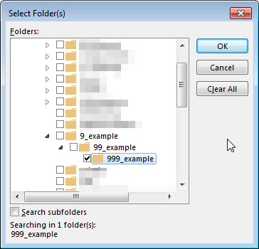Outlook find lost folder in folder hierarchy : Folder hierarchy view
