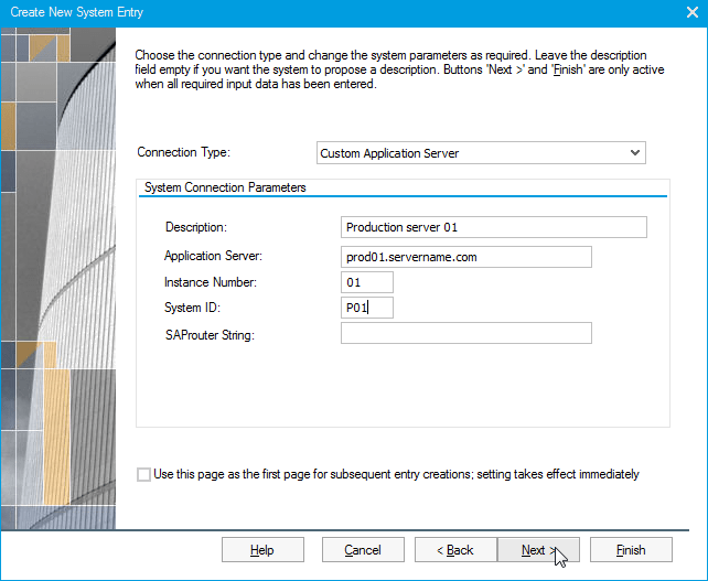 SAPLogon Add server manually to the server list : Enter the System Connection Parameters