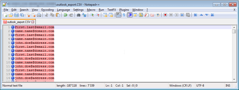 Notepad++ how to extract email addresses from a file : Final file containing only email addresses