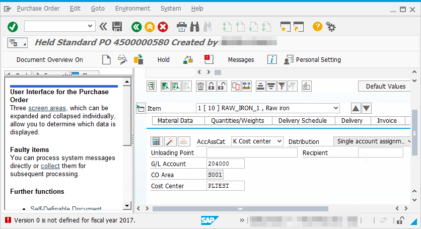 SAP How to solve Version is not defined for fiscal year : Error during Purchase Order creation