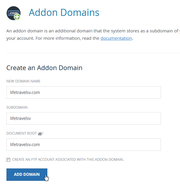 cPanel add an external domain to existing web hosting : Addon Domains menu in cPanel