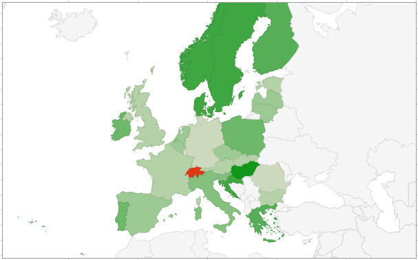 Create a shareable map chart with Google Sheets : Europe region of a map chart