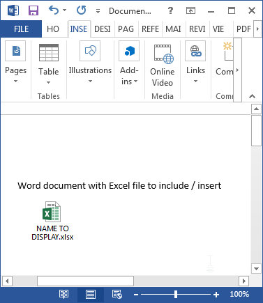How to insert / include an Excel spreadsheet in a Word document : Resulting document with Excel file embed