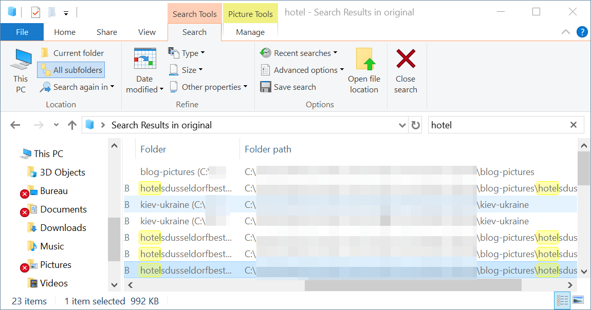 Windows search show full path : Windows explorer columns choosen are displayed
