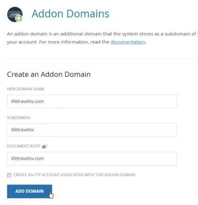 cPanel add new domain