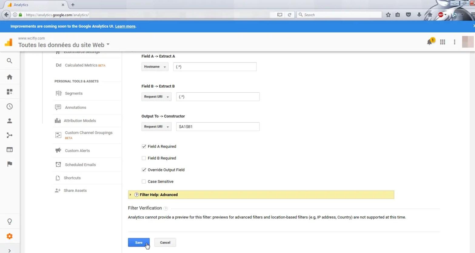 Google Analytics subdomain filter