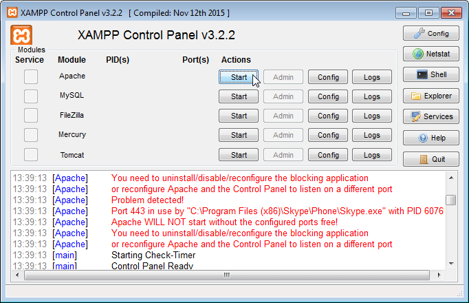 XAMPP Apache Port 443 in use