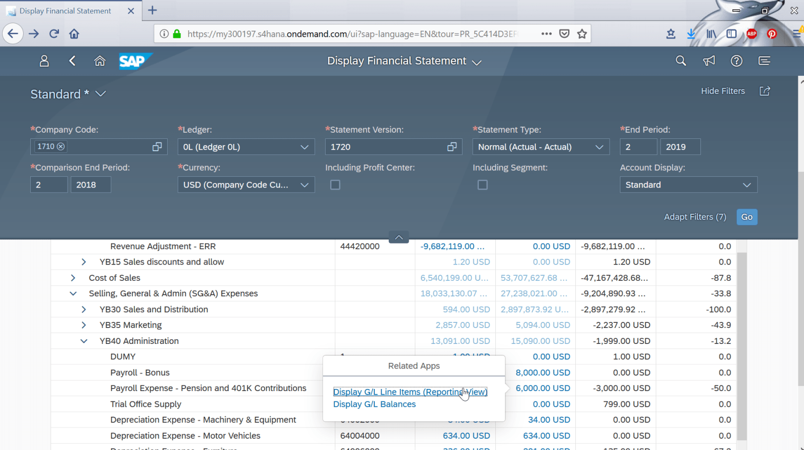 Display financial statement tile in SAP FIORI and balance sheet check