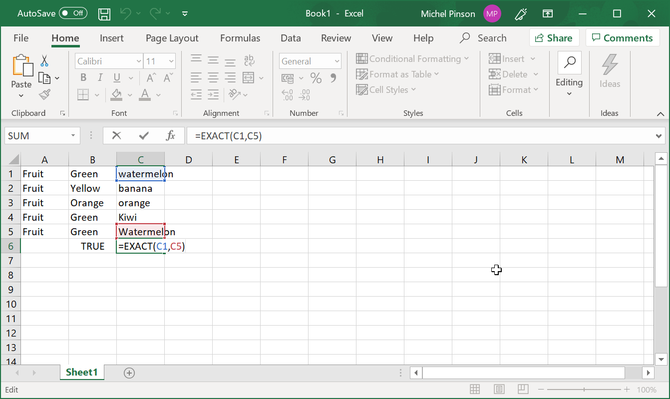 How to properly use Excel String Compare function?