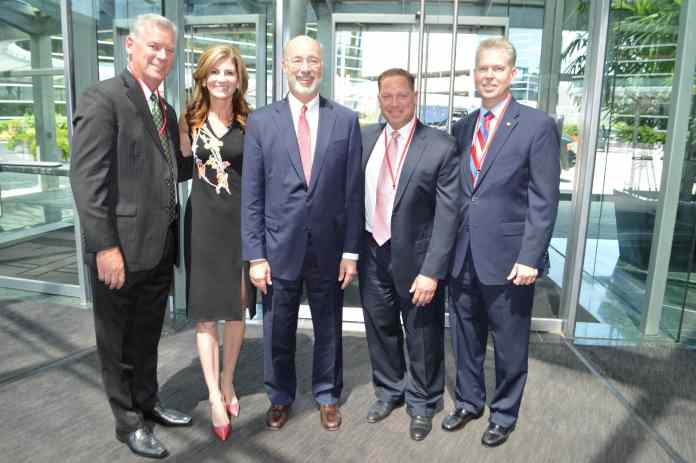 From left: State Senator Tom McGarrigle, SAP North America President Jennifer Morgan, Governor Tom Wolf, Delaware County Councilman Dave White and State Representative Chris Quinn.