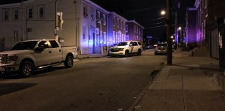 Police on location on the 4500 block of Griscom St. in Philadelphia Friday morning following a homicide. (PHOTO: YC.NEWS/NIK HATZIEFSTATHIOU)