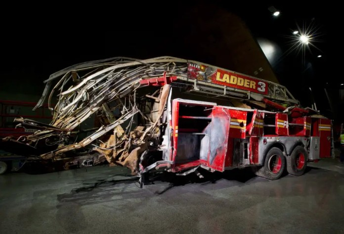 The remains of Ladder Co. 3's firetruck. (PHOTO NEW YORK POST/JIN LEE)