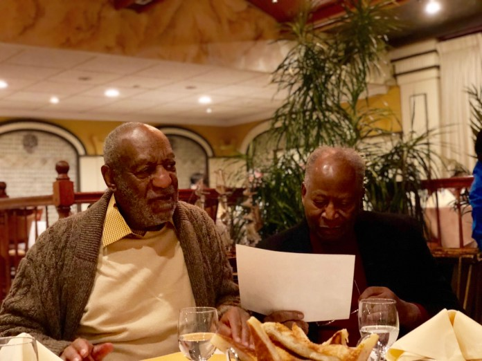 Bill Cosby out to dinner with his childhood friends in Philadelphia. (YC.NEWS/NIK HATZIEFSTATHIOU)