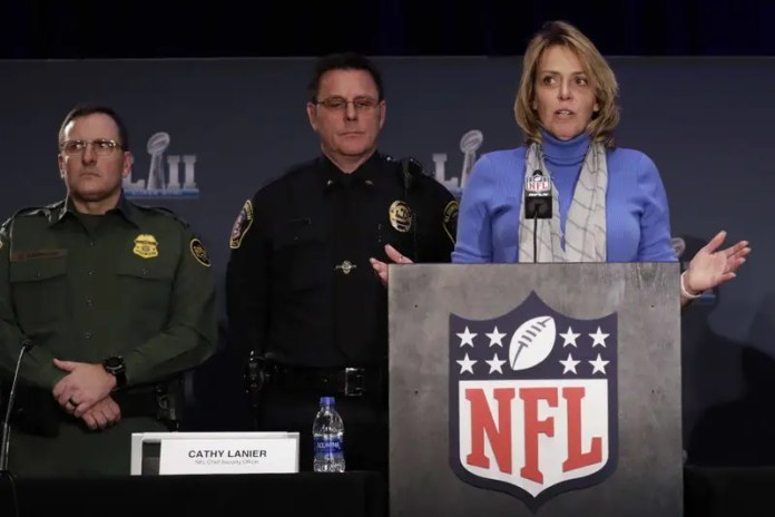 The NFL's Cathy Lanier speaks during a security news conference with law enforcement in advance of the Super Bowl 52 football game, Wednesday, Jan. 31, 2018, in Minneapolis. The Philadelphia Eagles play the New England Patriots on Sunday, Feb. 4, 2018. (AP Photo/Matt Slocum)