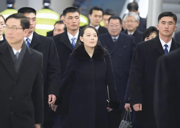 Kim Yo Jong, center, sister of North Korean leader Kim Jong Un, arrives at the Incheon International Airport in Incheon, South Korea, Friday, Feb. 9, 2018. Kim on Friday became the first member of her family to visit South Korea since the 1950-53 Korean War as part of a high-level delegation attending the opening ceremony of the Pyeongchang Winter Olympics.(Kyodo News via AP)