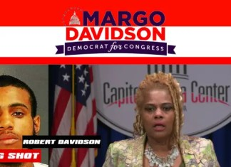 """Mugshot of Robert Davidson provided by Upper Darby Police Department following the bust of his """"drug warehouse"""" operation (left) with a file photo of State Representative Margo L. Davidson (right)."""