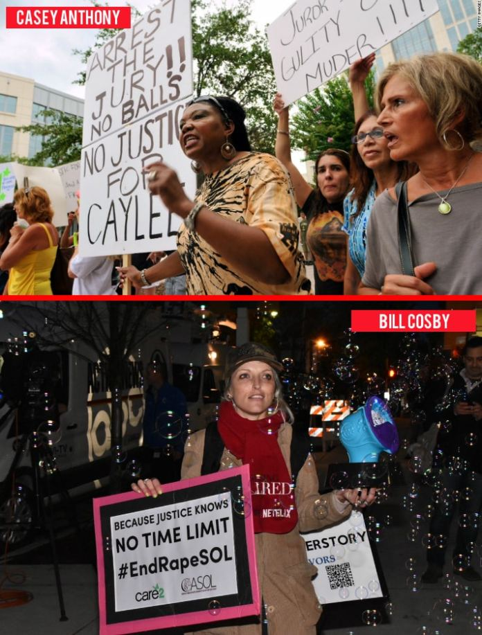Protesters gathered outside of the courthouse where Casey Anthony was standing trial for murder (top) versus the protester outside of the courthouse where Bill Cosby was standing trial with Bird Milliken aka Bubble Lady (bottom).