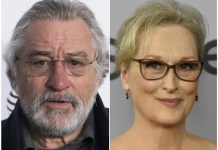 This combination of two file photos shows actors Robert De Niro at New York City's Radio City Music Hall on April 19, 2017 and Meryl Streep in Beverly Hills, Calif. on Jan. 17, 2018. An agreement reached in the sale of Harvey Weinstein's movie studio won't leave Hollywood stars like De Niro and Streep holding the bag. Lantern Capital Partners said Friday, July 6, 2018, it's agreed to make payments to unsecured creditors, such as actors seeking residuals, as part of a $289 million Weinstein Co. acquisition it expects to close Friday, July 13. (AP Photo/Charles Sykes, Chris Pizzello, File)