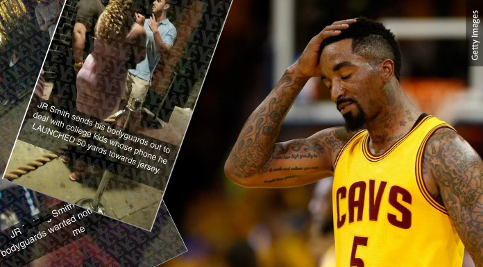 (YC/TMZ/GETTY IMAGES) JR Smith, right, accused of snatching college student's phone and throwing it into a construction site ... over a Snapchat.