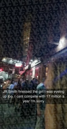 Massimo Cusumano snapped a pic, excited to see Cleveland Cavalier JR Smith! The NBA star is accused of snatching college student's phone and throwing it into a construction site ... over a Snapchat. (PHOTO: YC/TMZ/SNAPCHAT)