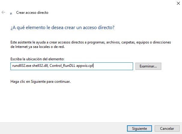 Acceso rápido quitar programas