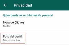 ocultar foto de perfil en whatsapp