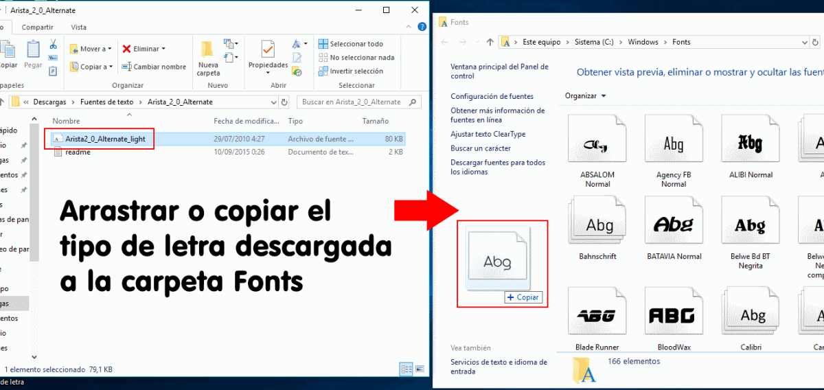 instalar tipos de letra en windows 10