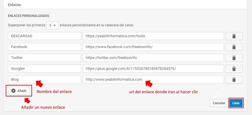 añadir enlaces personalizados youtube