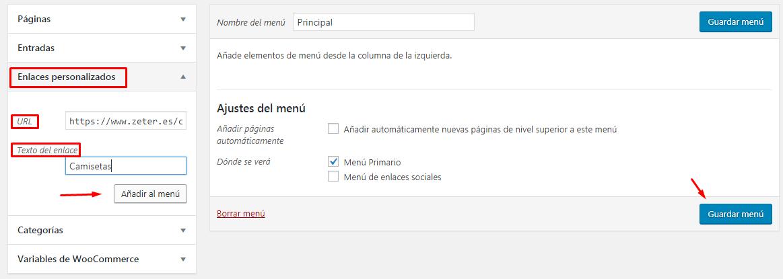 añadir categoria de productos woocommerce al menu wordpress