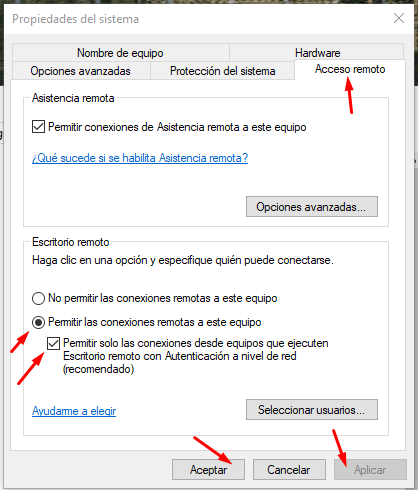 acceso remoto windows 10