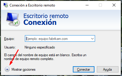 opciones escritorio remoto en windows 10